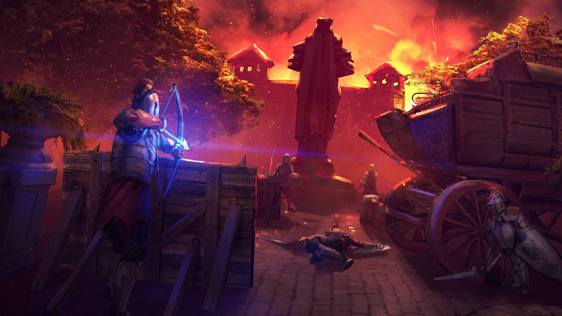 Forged of Blood concept art environment prologue courtyard battle