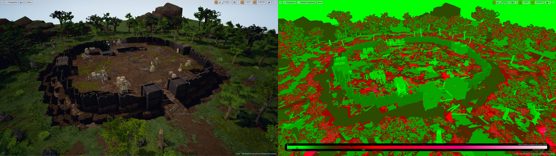Fort map comparison, editor and shader view.